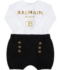 balmain black romper for babykids with golden logo