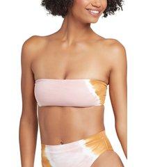 women's l space beach wave bandeau bikini top, size x-large - white
