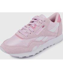 tenis lifestyle rosa-blanco reebok classic nylon