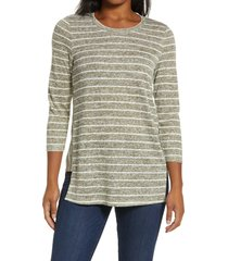 bobeau side panel inset tunic top, size large in burnt olive/white at nordstrom