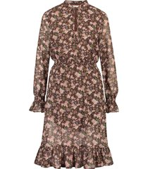 freebird flower-pes-08 midi dress long sleeve defne - olive