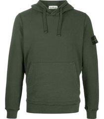 stone island logo drawstring hoodie - green