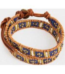 christina beaded friendship wrap bracelet - navy