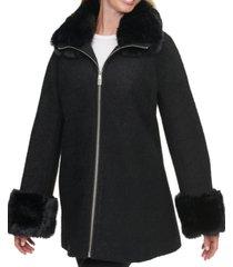 calvin klein faux-fur-trim coat