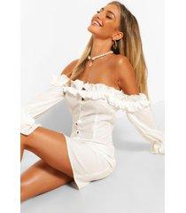 bodycon-mini-jurk met extreme ruches en boothals, wit