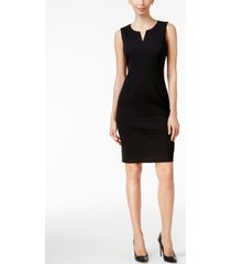 calvin klein petite split-neck sheath dress