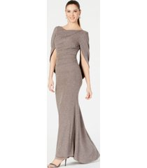 betsy & adam metallic-knit draped gown