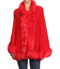 4 colors runway fashion luxurious fur trimmed cape coat