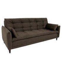 sofá-cama casal 3 lugares sofia suede marrom