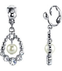 2028 silver tone imitation pearl and crystal clip drop earrings
