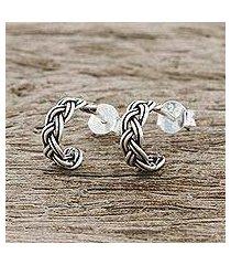 sterling silver half-hoop earrings, 'lovely braid' (thailand)