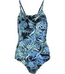 maiô para natação fabíola molina comfort shape - adulto - preto/azul