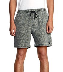 men's rvca escape animal print shorts, size medium - green