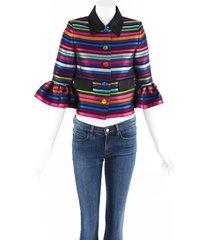 mary katrantzou jacket cuckoo striped satin bell sleeves black/multicolor sz: m