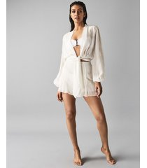 reiss ashley - embroidered resortwear tie front top in off white, womens, size 10