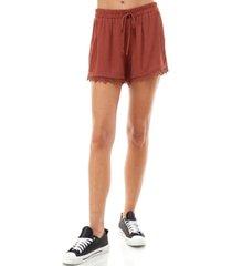 kingston grey juniors' crochet-trim shorts