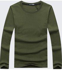 t-shirt da uomo manica lunga o53 collo tinta unita in cotone stile semplice casual plus