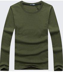 t-shirt per uomo manica lunga plus tinta unita in cotone tinta unita casual stile semplice