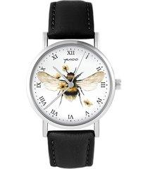 zegarek - bee natural - czarny, skóra