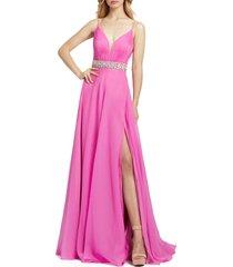 women's mac duggal crystal beaded chiffon gown, size 16 - pink