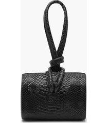 kleine slangenprint clutch bag met geknoopte hendel, zwart