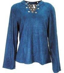 blusa infinity fashion suede azul