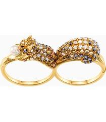 anello a doppio motivo march squirrel, multicolore, placcato oro