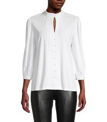karl lagerfeld paris women's pleated keyhole top - soft white - size s