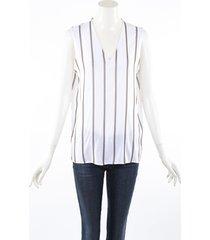 brunello cucinelli white silk striped monili sleeveless top white sz: m