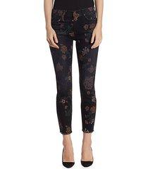 roxanne floral raw-hem jeans