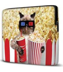 capa para notebook isoprene popcorn cat 15.6 à 17 polegadas com bolso - unissex