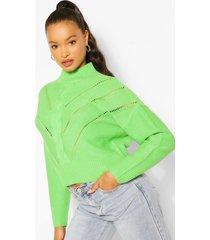 gebreide trui met hoge kraag en gaatjes, apple green