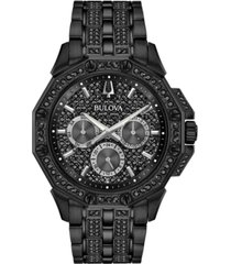 bulova men's phantom black stainless steel & crystal-accent bracelet watch 41.5mm