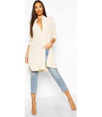 longline oversized sleeve shirt, cream