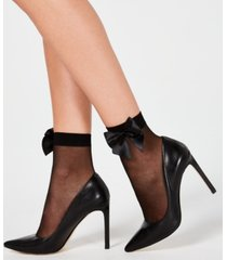 inc sheer bow-back anklet fashion socks, created for macy's