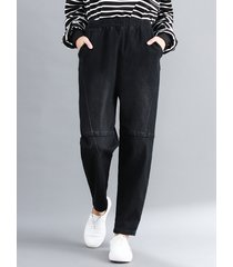 pantaloni casual in vita elastica allentata harem per donna