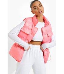 bodywarmer met geplooide taille, pink