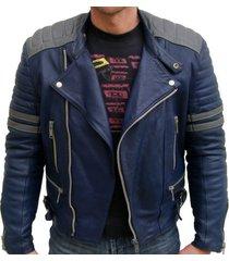 men blue leather color jacket, mens bomber jacket, mens real leather jacket