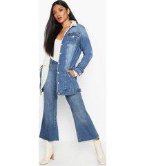 borg longline jean jacket, mid blue