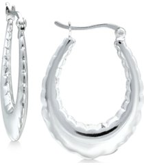 giani bernini fancy oval hoop earrings in sterling silver, created for macy's