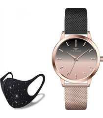 reloj hasir rose black one  fashion mask con cristales ferro
