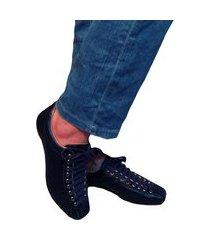 sapatênis azul marinho em couro tênis confort