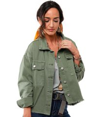 chaqueta oversize verde soviet