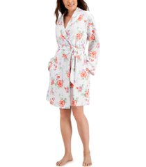 charter club printed cotton wrap robe, created for macy's