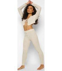 geribbelde mix & match leggings met knopen, stone