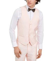 alfani men's slim-fit stretch pink solid tuxedo vest, created for macy's