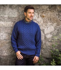 traditional men's aran sweater denim m