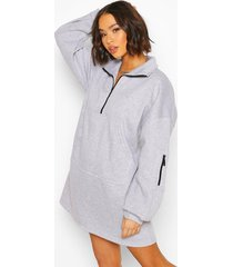 fleece zip front oversized sweatshirt dress, grey marl