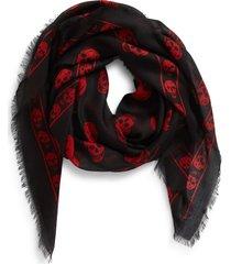 women's alexander mcqueen skull print modal & silk scarf, size one size - black