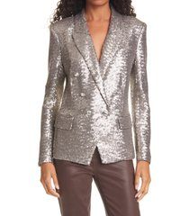 women's l'agence kenzie double breasted sequin blazer, size 0 - metallic